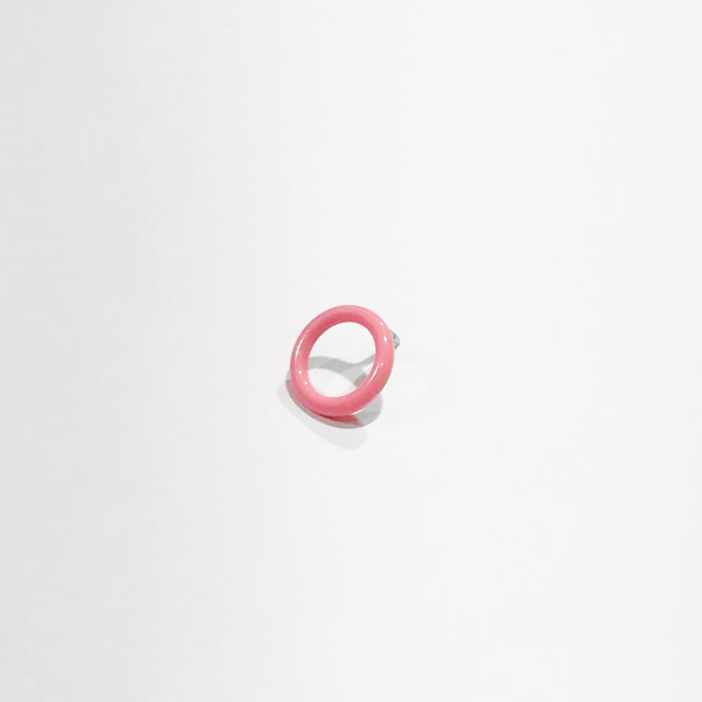 "Donna D'Aquino | Pink Pin | Brass, nickel, powder coated | 0.25"" X 0.25"" 