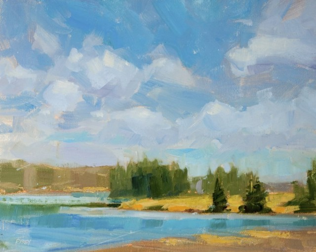 "Philip Frey | Reaching Into Blue (Study) | Oil on Linen Panel | 8"" X 10"" 