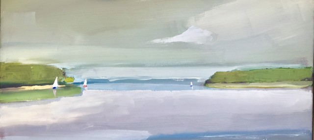 "Claire Bigbee | Airy Blue Skies at Casco Bay | Oil | 10"" X 20"" 