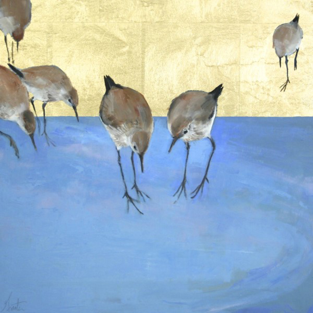 "Ellen Welch Granter | Hold | Oil and Gold Leaf on Panel | 20"" X 20"" 