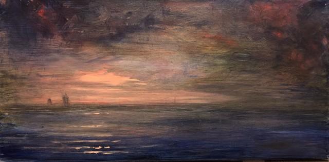"John LeCours | Maine Harbour Twilight | Oil on Canvas | 10"" X 20"" | Sold"