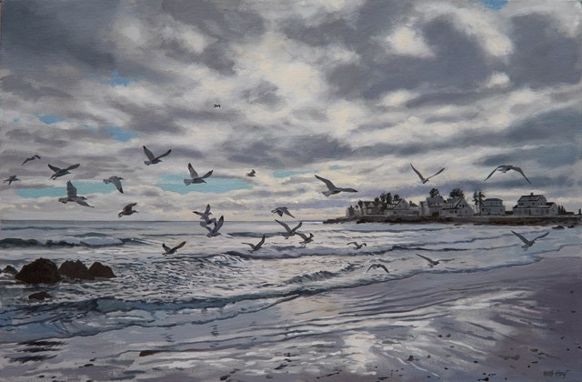 "William B. Hoyt | Gulls at Mother's Beach | Oil on Canvas Stretched on Panel | 16"" X 24"" 