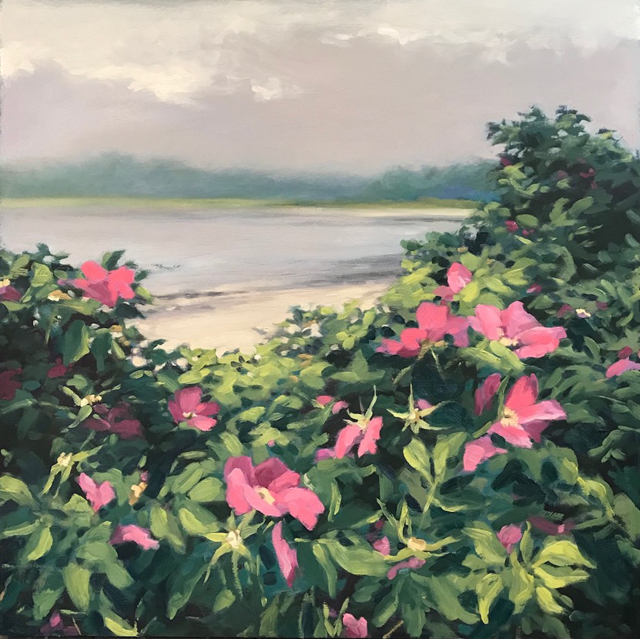 "Margaret Gerding | Beach Roses | Oil on Panel | 24"" X 24"" 