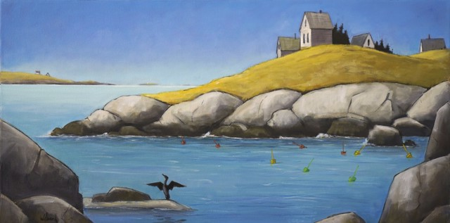 "David Witbeck | Lobster Cove | Oil on Canvas | 20"" X 40"" 