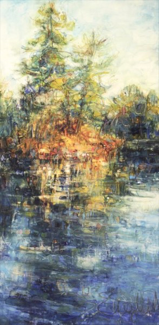 """Susan Wahlrab   Last Ray   Varnished Watercolor on Archival Claybord   12"""" X 6""""   Sold"""