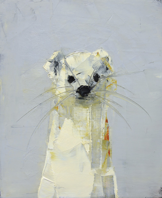 "Rebecca Kinkead | Ermine | Oil and Wax on Linen | 12"" X 10"" | Sold"
