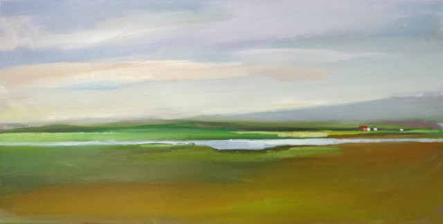 "Claire Bigbee | Changing Greens on the Salt Marsh | Oil | 10"" X 20"" 