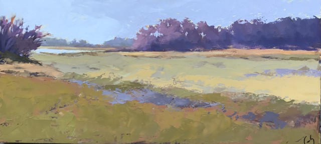 "Margaret Gerding | Granite Point | Oil on Canvas | 10"" X 22"" 