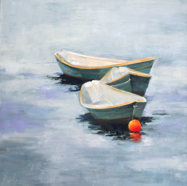 "Ellen Welch Granter | Dories 3 | Oil on Panel | 20"" X 20"" | Sold"