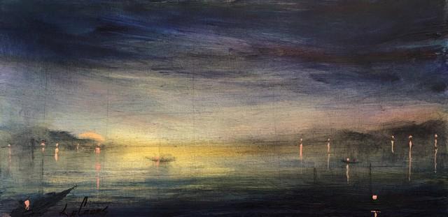 "John LeCours | Maine Harbour Twilight - View Thru the Fishing Net | Oil on Canvas | 10"" X 20"" | $750.00"