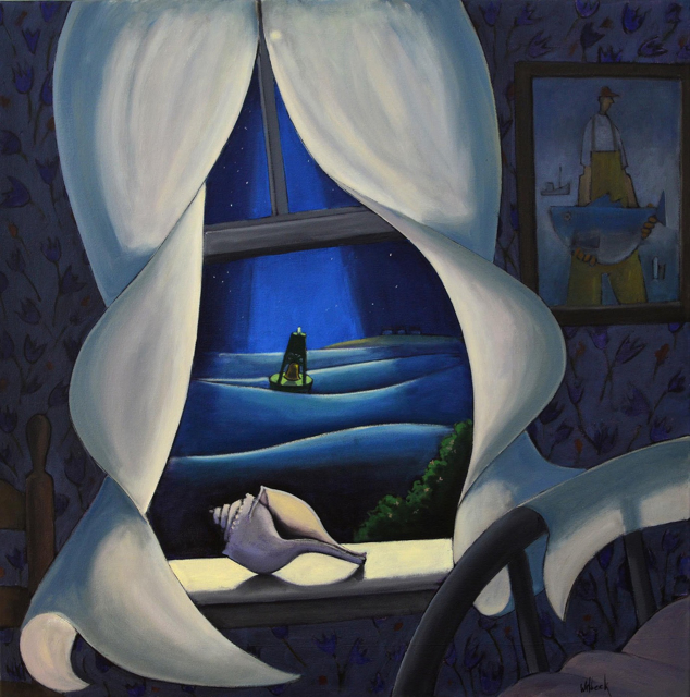 "David Witbeck | Bellbuoy in the Night | Oil | 36"" X 36"" 