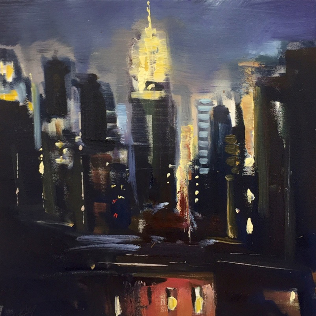 "Craig Mooney | City Lights | Oil on Canvas | 18"" X 18"" 