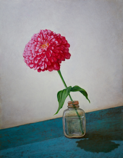 "Alex Dunwoodie | Pink Zinnia | Oil on Board | 14"" X 11"" | Sold"
