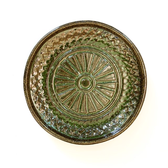 "Richard Winslow | Green Textured Dish | Ceramic | 2"" X 13"" | $110.00"