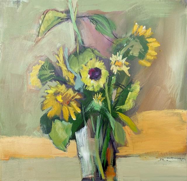"Claire Bigbee | Sun Worshipers | Oil on Canvas | 24"" X 24"" | $2,800.00"