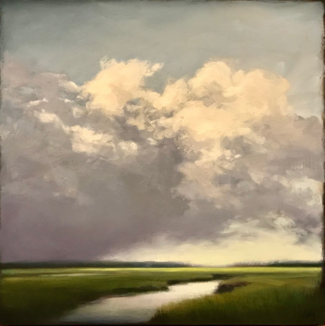 "Margaret Gerding | Clouds over the Marsh - Designer's Choice, People's Choice #1 | Oil on Panel | 16"" X 16"" 