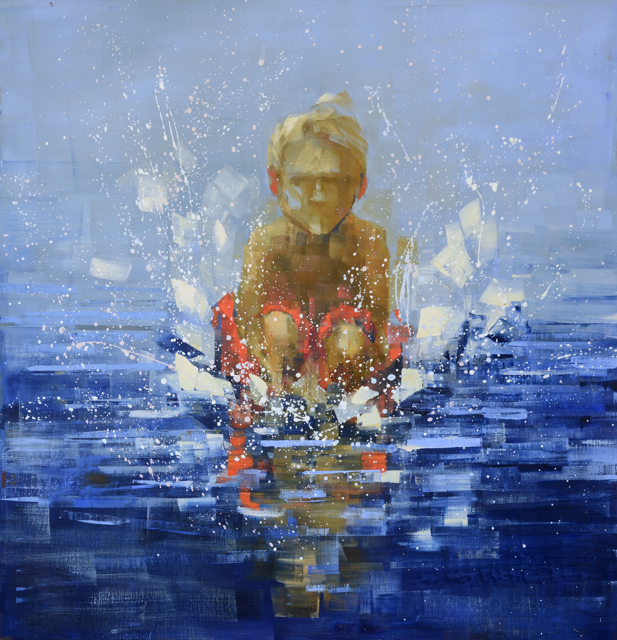 "Rebecca Kinkead | Cannonball (Red Shorts) | Oil and Wax on Linen | 46"" X 44"" 