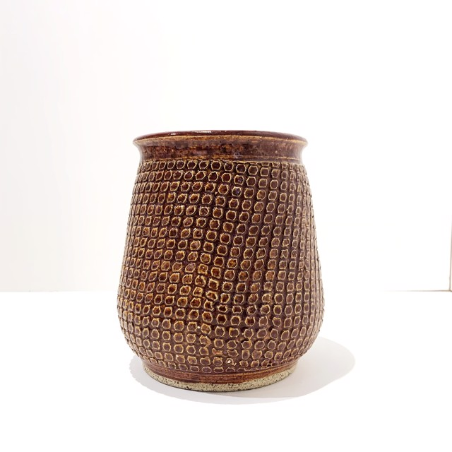"Richard Winslow | Red Textured Vase | Ceramic | 7.5"" X 6.5"" | $90.00"