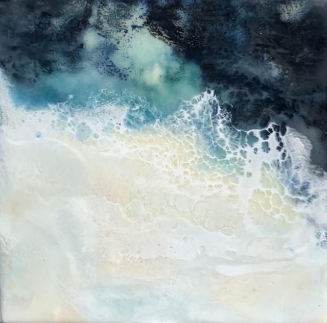 "Kathy Ostrander Roberts | Sea Foam | Encaustic on Birch Panel | 8"" X 8"" | Sold"