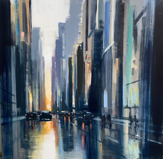 "Craig Mooney | Cityscape Late Day | Oil on Canvas | 42"" X 42"" 