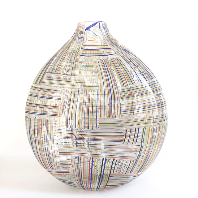 Crazy Quilt Striped Cane Vase, Large
