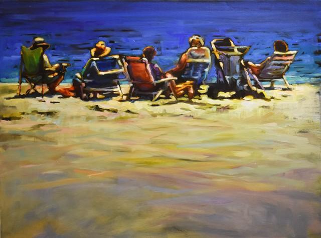 "Karen Bruson | Lawn Chair Crew | Oil on Canvas | 18"" X 24"" | $895.00"