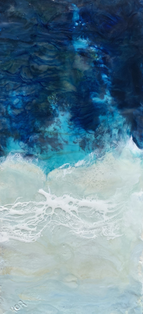 "Kathy Ostrander Roberts | Into the Deep End | Encaustic on Panel | 22"" X 10"" 