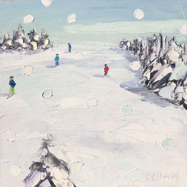 "Bethany Harper Williams | Ski Days, Light Snow Day | Oil on Canvas | 12"" X 12"" 
