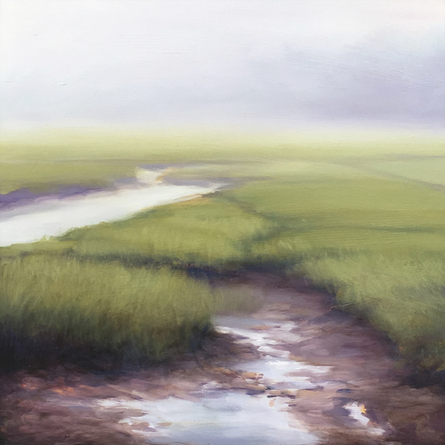 "Margaret Gerding | Marsh in Fog I | Oil on Panel | 16"" X 16"" 