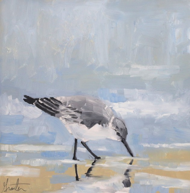 "Ellen Welch Granter | Beach Comber | Oil on Cradled Panel | 12"" X 12"" 