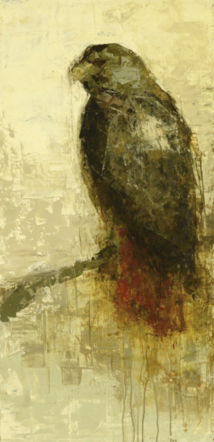 "Rebecca Kinkead | Red Tail Hawk | Oil and Wax on Linen | 30"" X 15"" 
