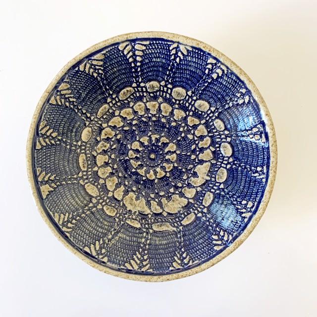 "Richard Winslow | Blue Textured Bowl | Ceramic | 3.5"" X 10.5"" | $90.00"