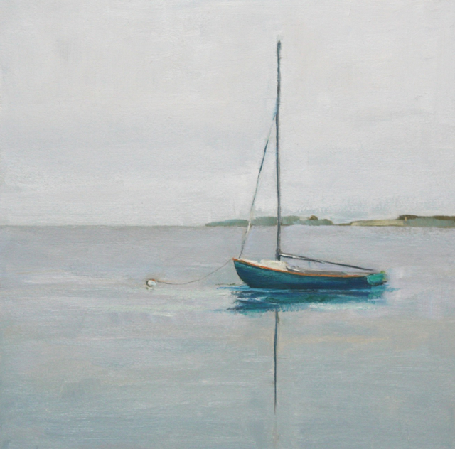 "Ellen Welch Granter | Blue Traveller | Oil on Panel | 12"" X 12"" | Sold"