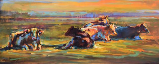 "Karen Bruson | Have You Herd | Oil on Canvas | 16"" X 40"" | $1,600.00"