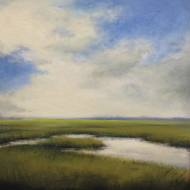 "Margaret Gerding | Summer Blue | Oil on Panel | 16"" X 16"" 