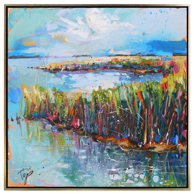 "Trip Park | Heavenly Marsh | Mixed Media on Canvas | 30"" X 30"" 