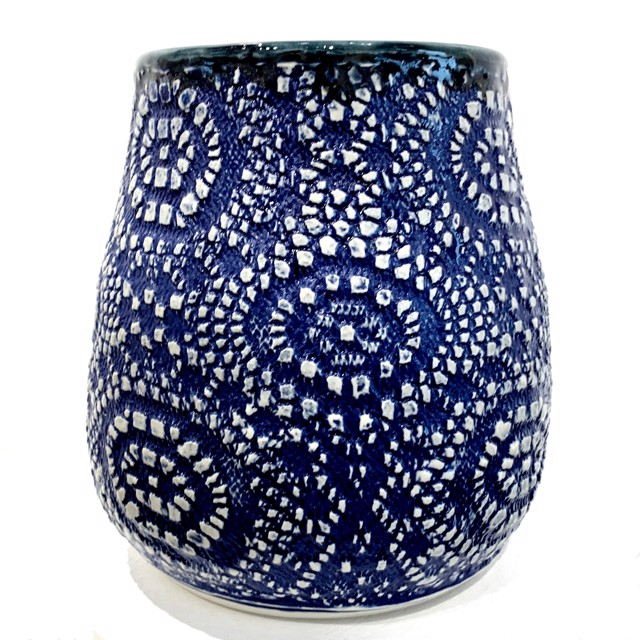 "Richard Winslow | Textured Vase in Blue | Ceramic | 7"" X 5.5"" 