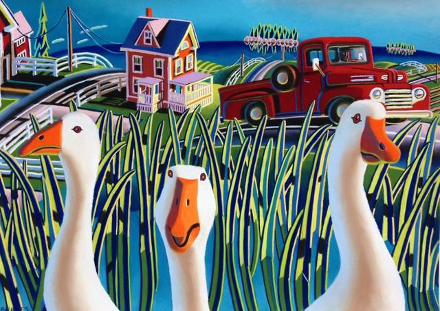 Naughty Geese 13 x 20
