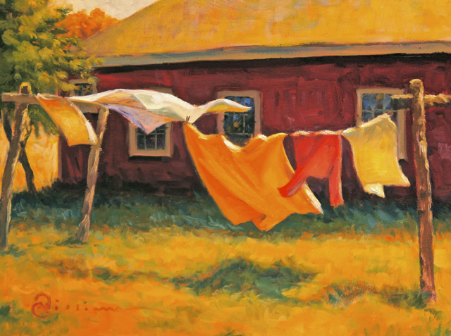 "Abbie Williams | Laundry Line | Oil | 12"" X 16"" 