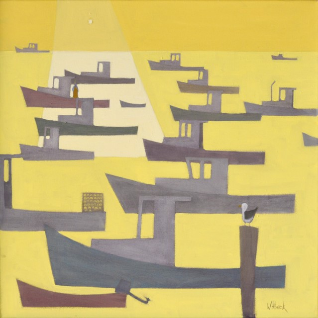 "David Witbeck | Yellow Harbor | Oil on Canvas | 25"" X 25"" 