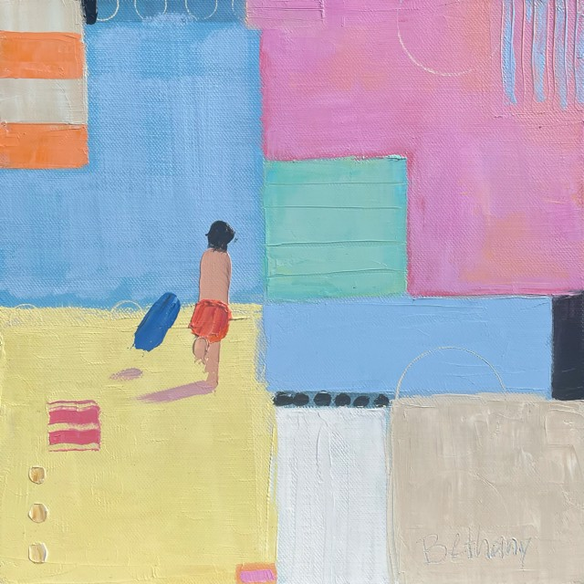"""Bethany Harper Williams   To the Beach!   Oil on Canvas   12"""" X 12""""   Sold"""
