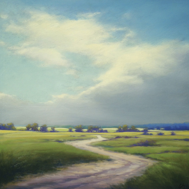 "Margaret Gerding | Island Road | Oil on Panel | 36"" X 36"" 