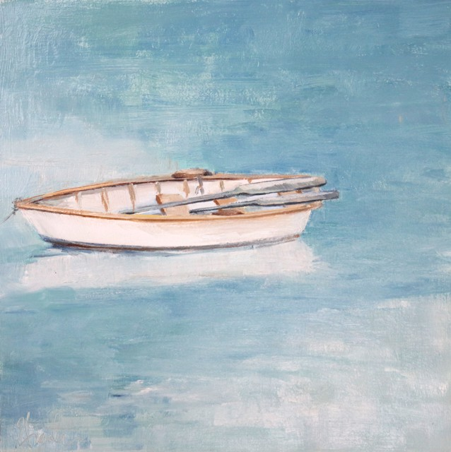"Ellen Welch Granter | The Idea Slips | Oil on Canvas | 12"" X 12"" 