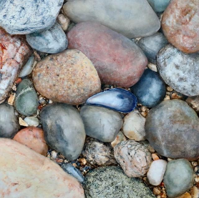 "Alex Dunwoodie | Beach Stone #11 | Oil on Board | 10"" X 10"" | Sold"