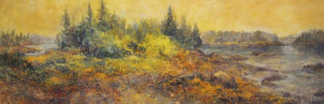 "Susan Wahlrab | Peace on Earth | Varnished Watercolor on Archival Claybord | 12"" X 36"" 