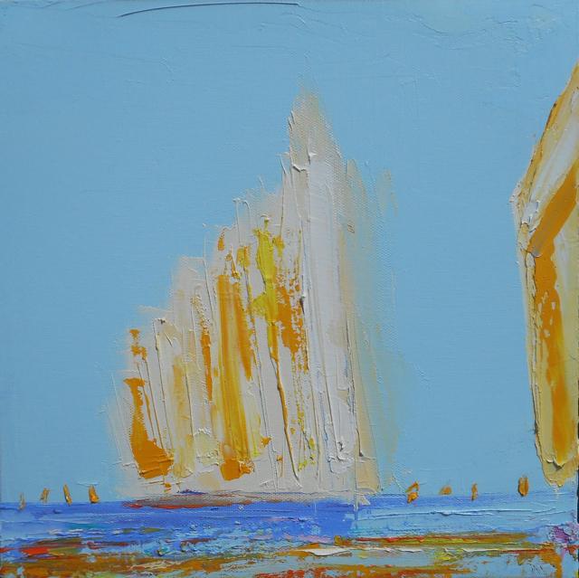 "Janis H. Sanders | Summer Sail II | Oil on Canvas | 12"" X 12"" | Sold"