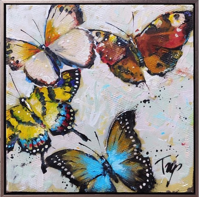 "Trip Park | Royal Flies | Acrylic and Mixed Media on Canvas | 12"" X 12"" 