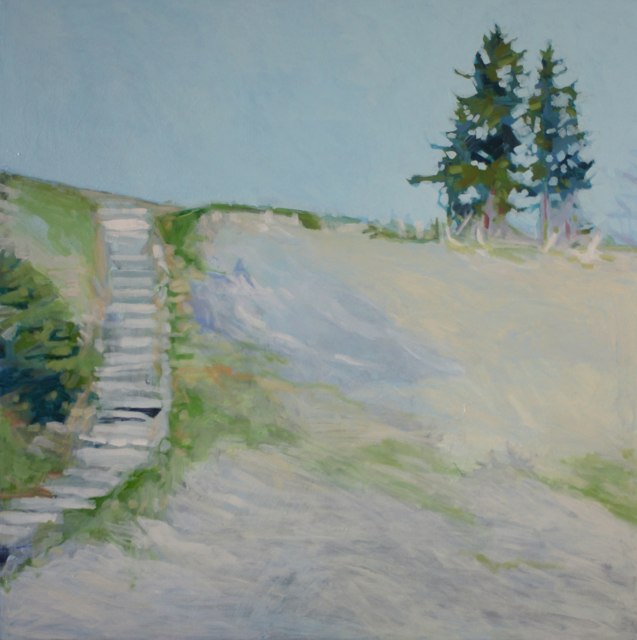 "Liz Hoag | The Stairway | acrylic | 40"" X 40"" | Sold"