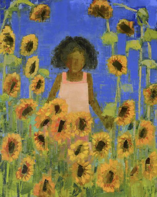 "Rebecca Kinkead | Traveler (Sunflowers) | Oil and Wax on Linen | 60"" X 48"" | Sold"