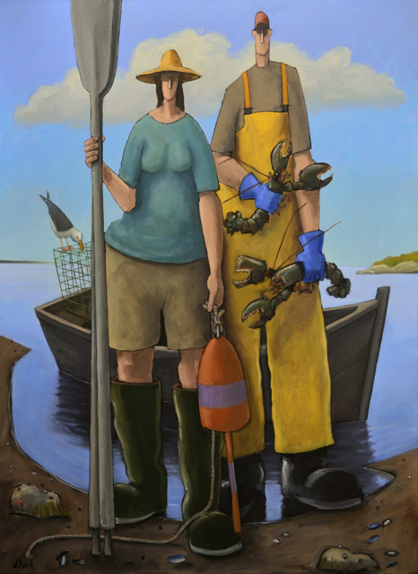 "David Witbeck | Lobstah for Suppah | Oil on Canvas | 45"" X 33"" 